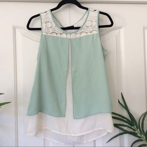 C. Luce Medium Mint Green Lace Tank Top